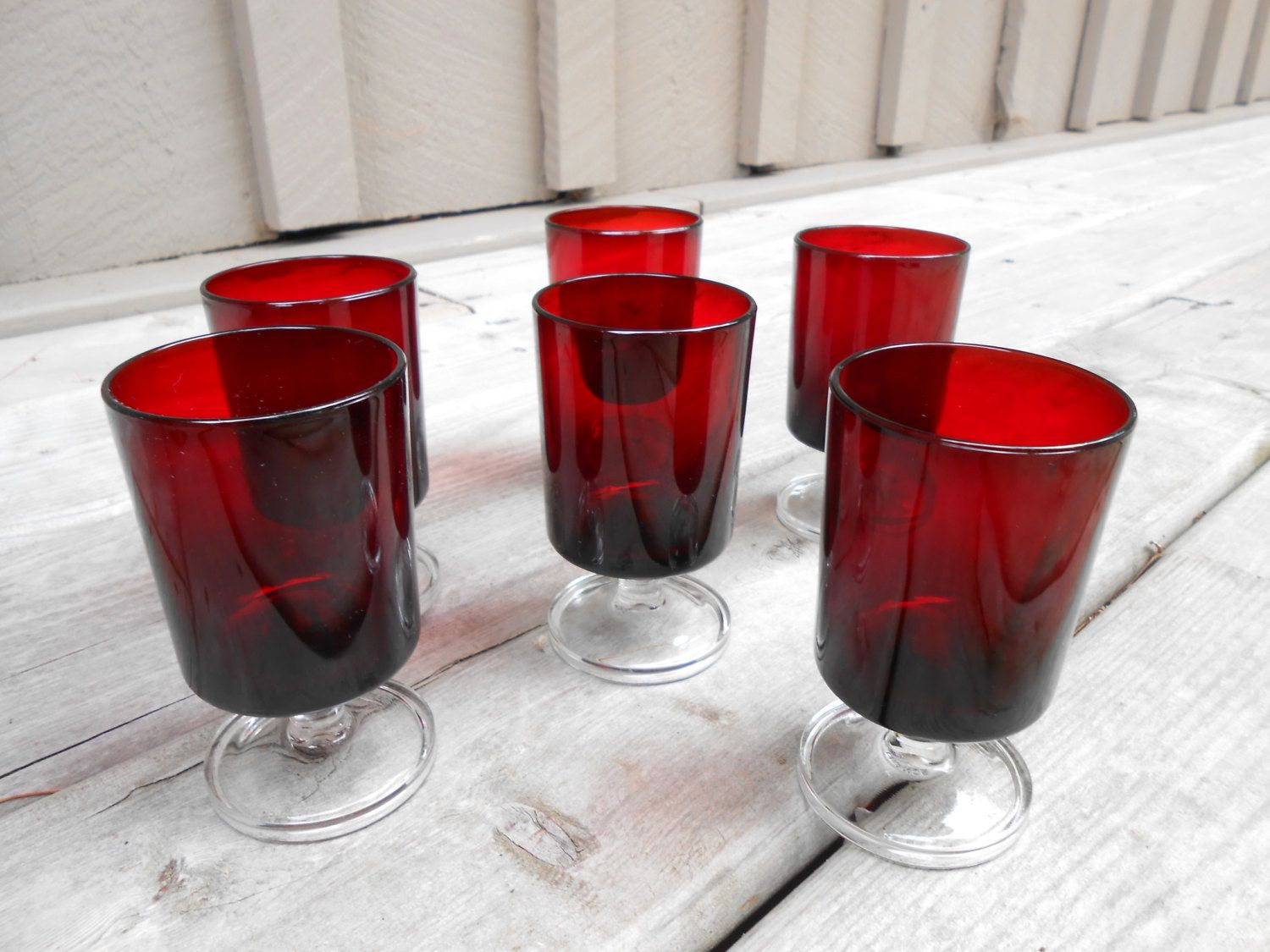 Ruby Red Luminarc Set Of Six Vintage Wine Glasses Luminarc Cavalier Arcoroc France Red Glassware Set Of 6 Ste Vintage Wine Glasses Luminarc Glassware Set