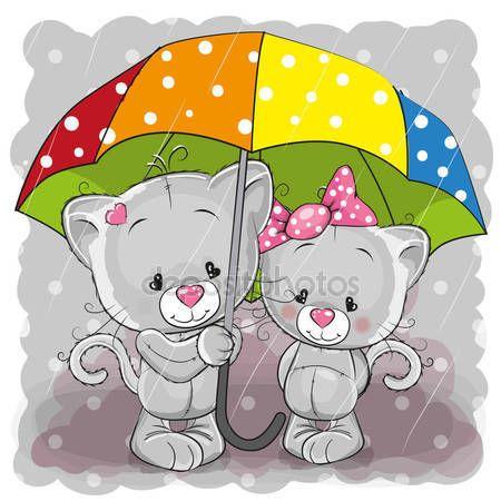Descargar Dos Gatitos De Dibujos Animados Lindo Con Paraguas Ilustracion De Stock 130827 Historieta Graciosa Dibujos De Animales Cosas Lindas Para Dibujar