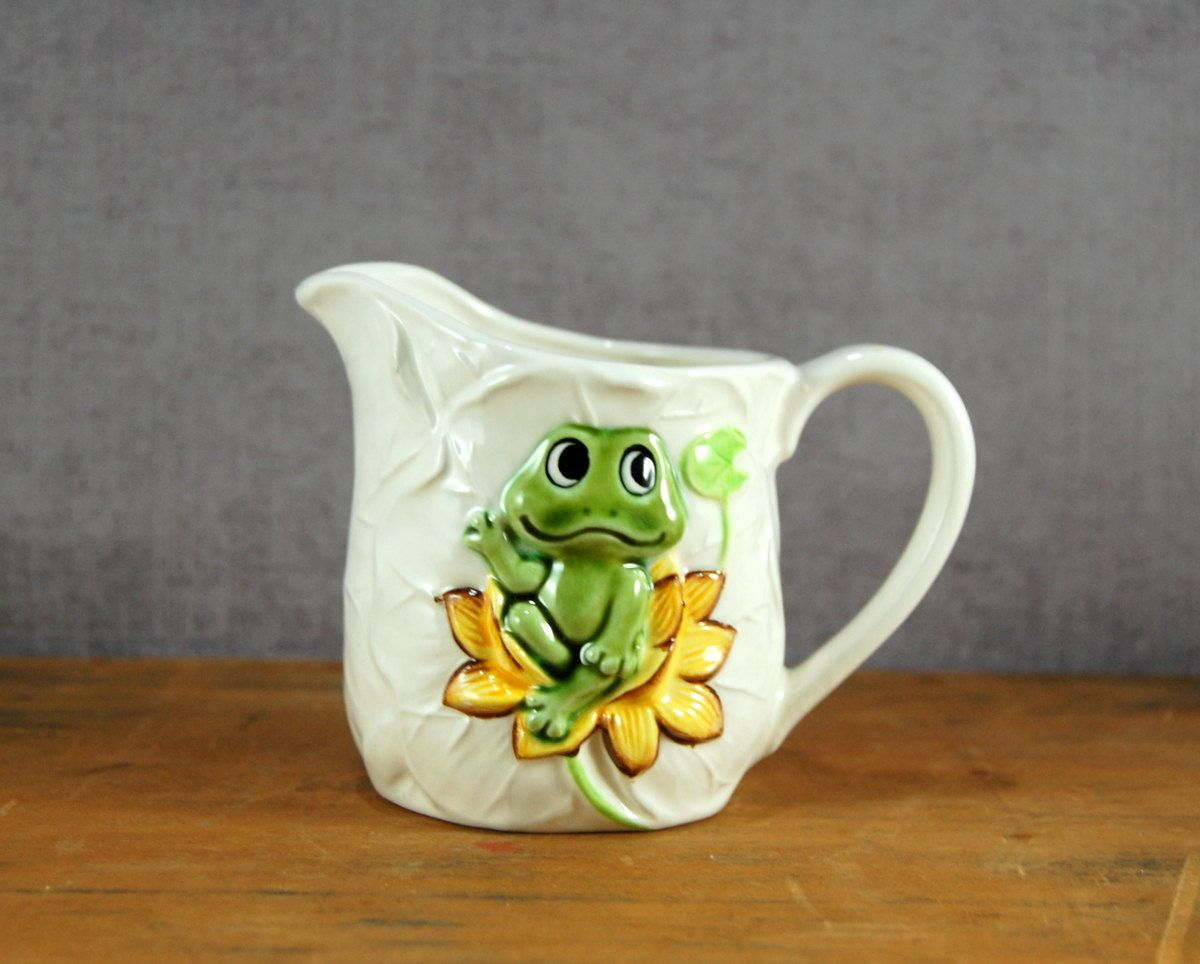 Neil the Frog Creamer By Sears Ceramic Lily Pad Texture Made in Japan & Neil the Frog Creamer By Sears Ceramic Lily Pad Texture Made in ...