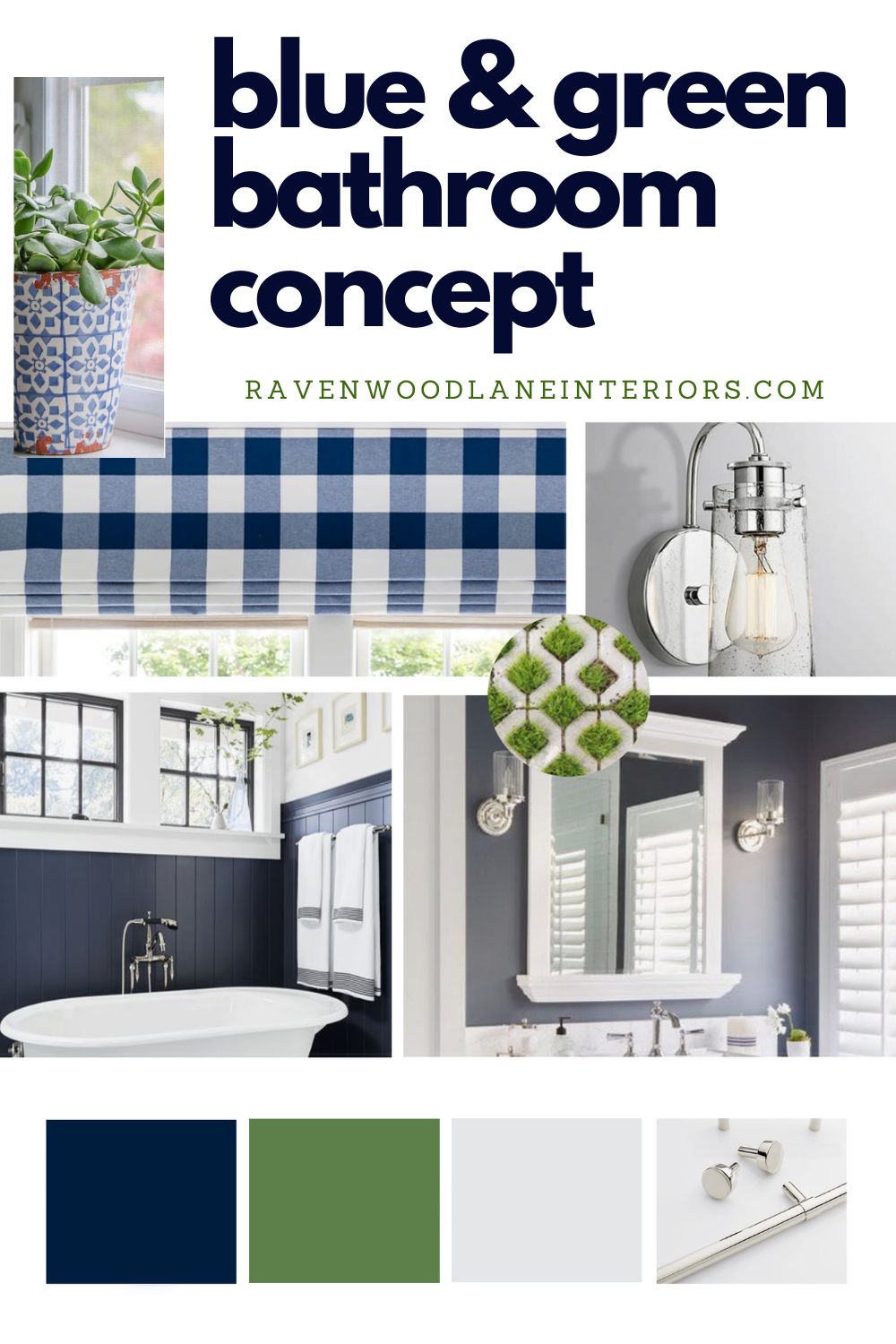 Blue And Green Bathroom Concept Board From Ravenwood Lane