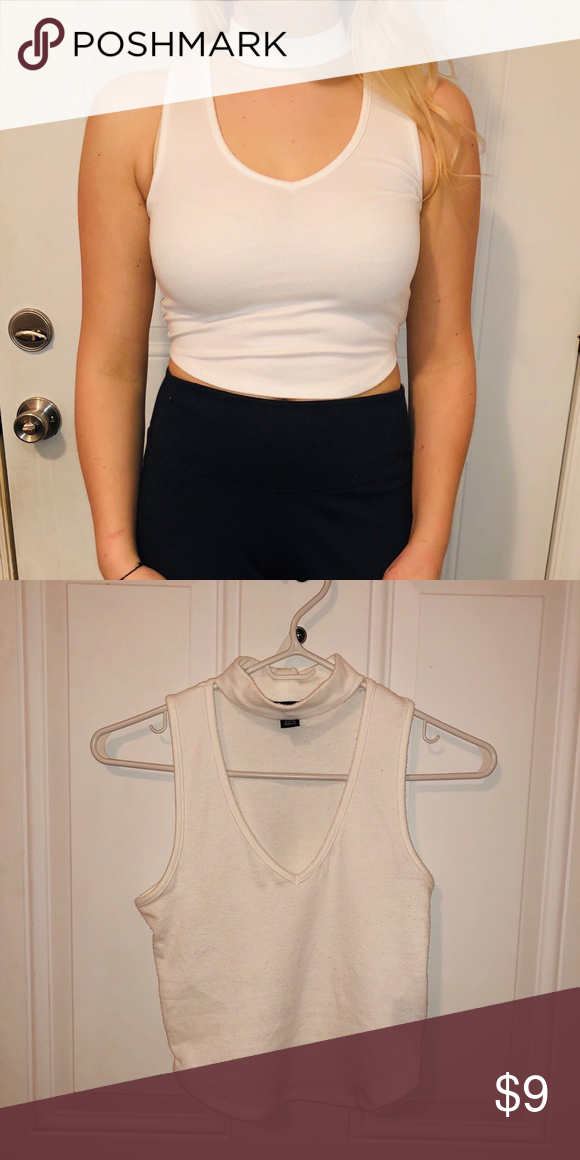 8eb5eeab02b ✨4 for $20✨White Collared Crop Top Deep V-neck, white collar ...