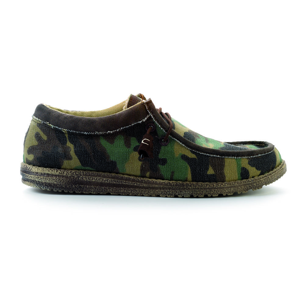b58fb11d4cba0 Wally Camo Hey Dude Shoes' Wally style is a lace up delivered to you with  an elastic lace system to maintain Dude Shoes slip on character but also  supplied ...