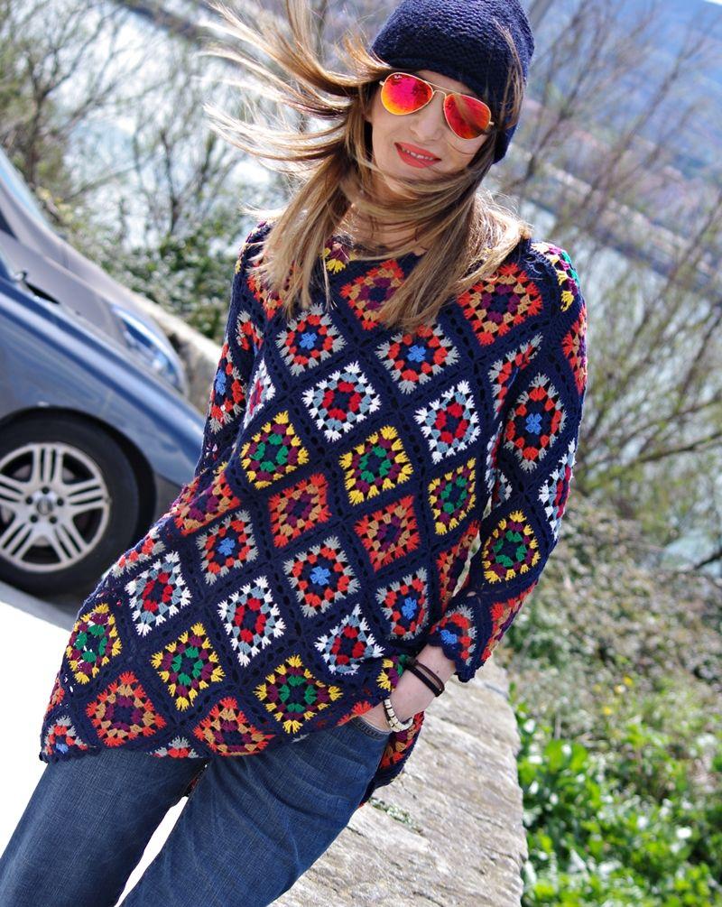 Zara Robe Mini Printemps 2016 Crochet Granny Squares