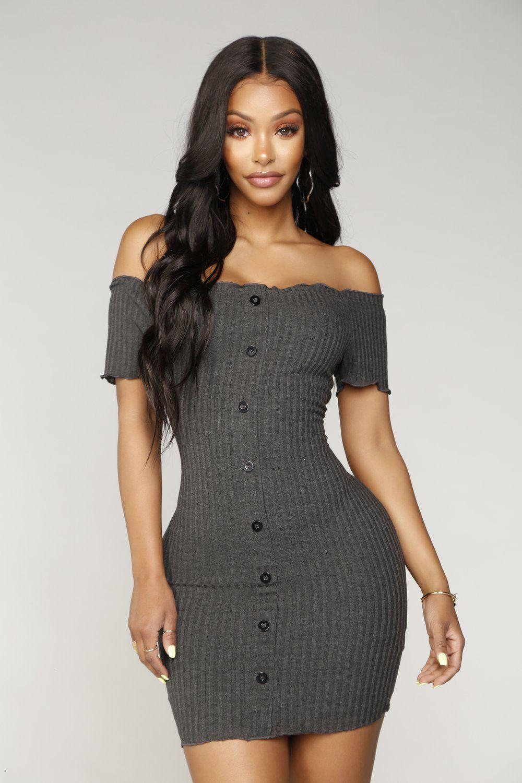 Katherine Off Shoulder Mini Dress Charcoal Mini dress