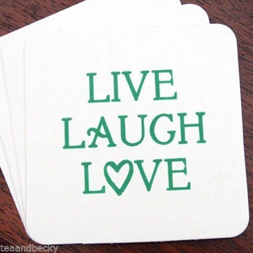Live Laugh Love Heart Wedding Coaster Set 75 Bridal Shower Bachelorette Favor By Teaandbecky