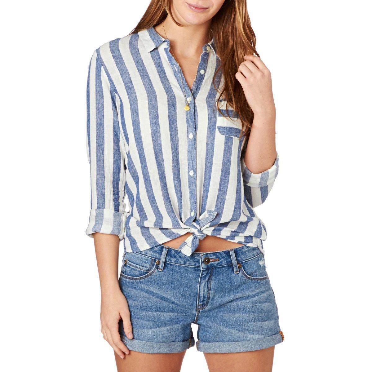 4377496f Women's Maison Scotch Shirts - Maison Scotch Striped Linen Beach Shirt - Blue  Stripe