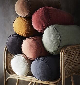 Colourful Velvet And Linen Bolster Cushions By The Forest & Co | notonthehighstreet.com