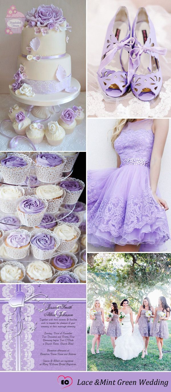 Best Wedding Color Palettes For Lace Theme Weddings | Light purple ...