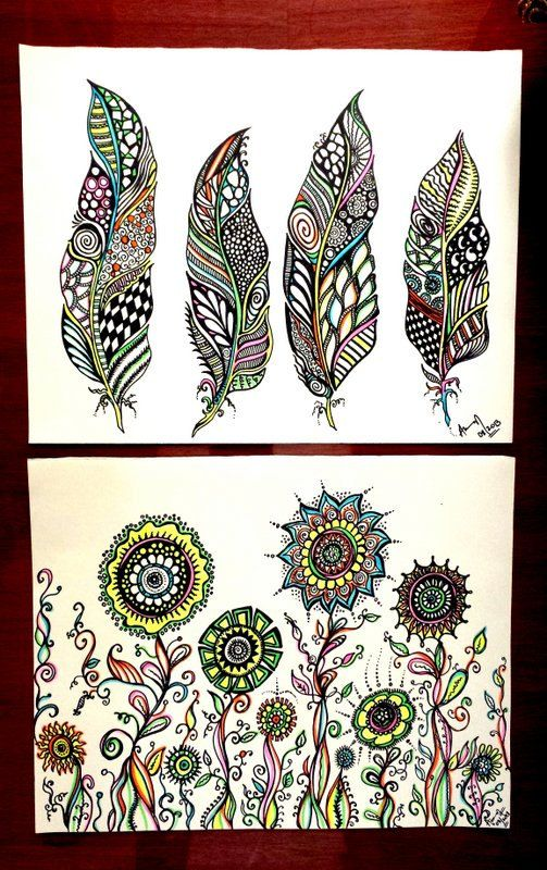Feathers Abstract Drawing Flower Abstract Art By