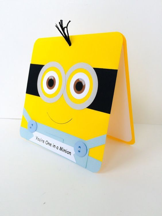 Minion card for kids minion birthday card childrens birthday minion card for kids minion birthday card childrens birthday card general minion card for anyone handmade minion birthday card bookmarktalkfo Image collections