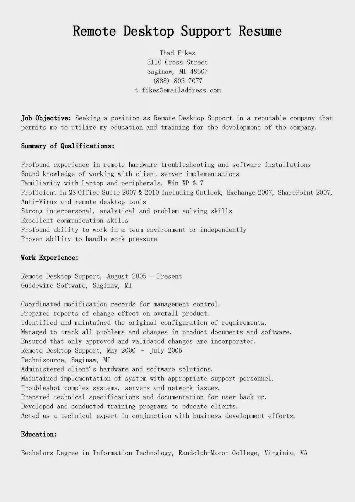 Sample Business Resume Remote Desktop Support Resume Sample Httpresumesamplesdownload