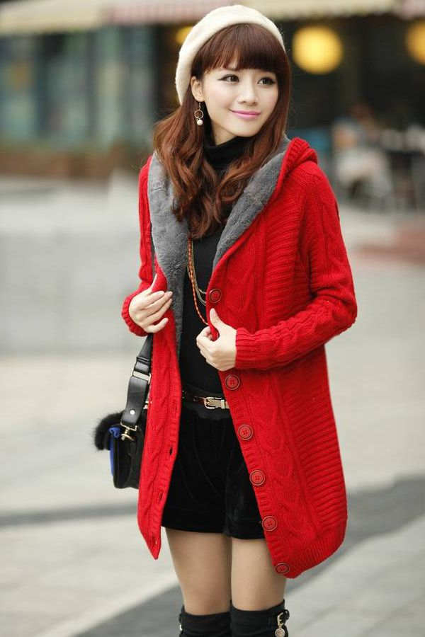 Long Sleeve Red Cotton Hooded Cardigan Sweater -Double click the ...