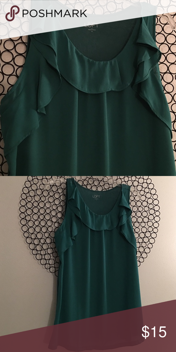 Ann Taylor LOFT ruffled-around-the-collar shirt. Pretty polyester front/cotton back Ann Taylor LOFT tank.  Dress up or down!  EUC!  Worn once. LOFT Tops