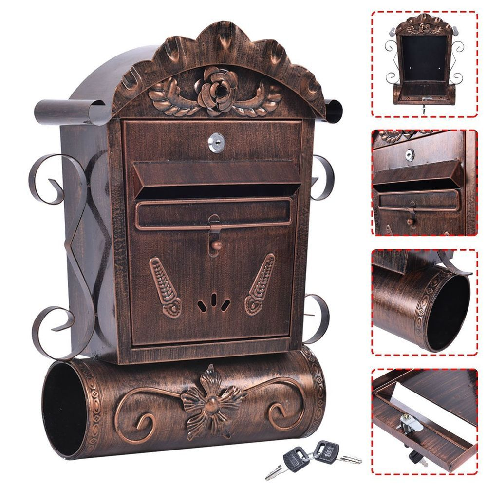Wall Mounted Mailbox Vintage Bronze Lockable Letterbox Post Newspaper Hanging In Home Furniture Diy Mailbox Accessories Wall Mount Mailbox Door Accessories