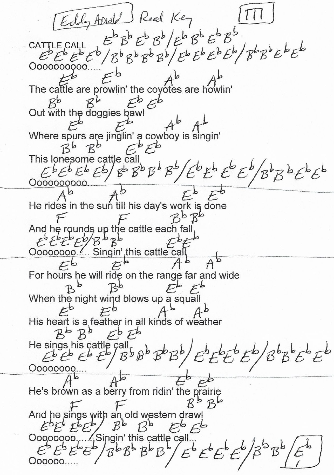 Cattle Call Eddy Arnold Guitar Chord Chart Real Key 2018
