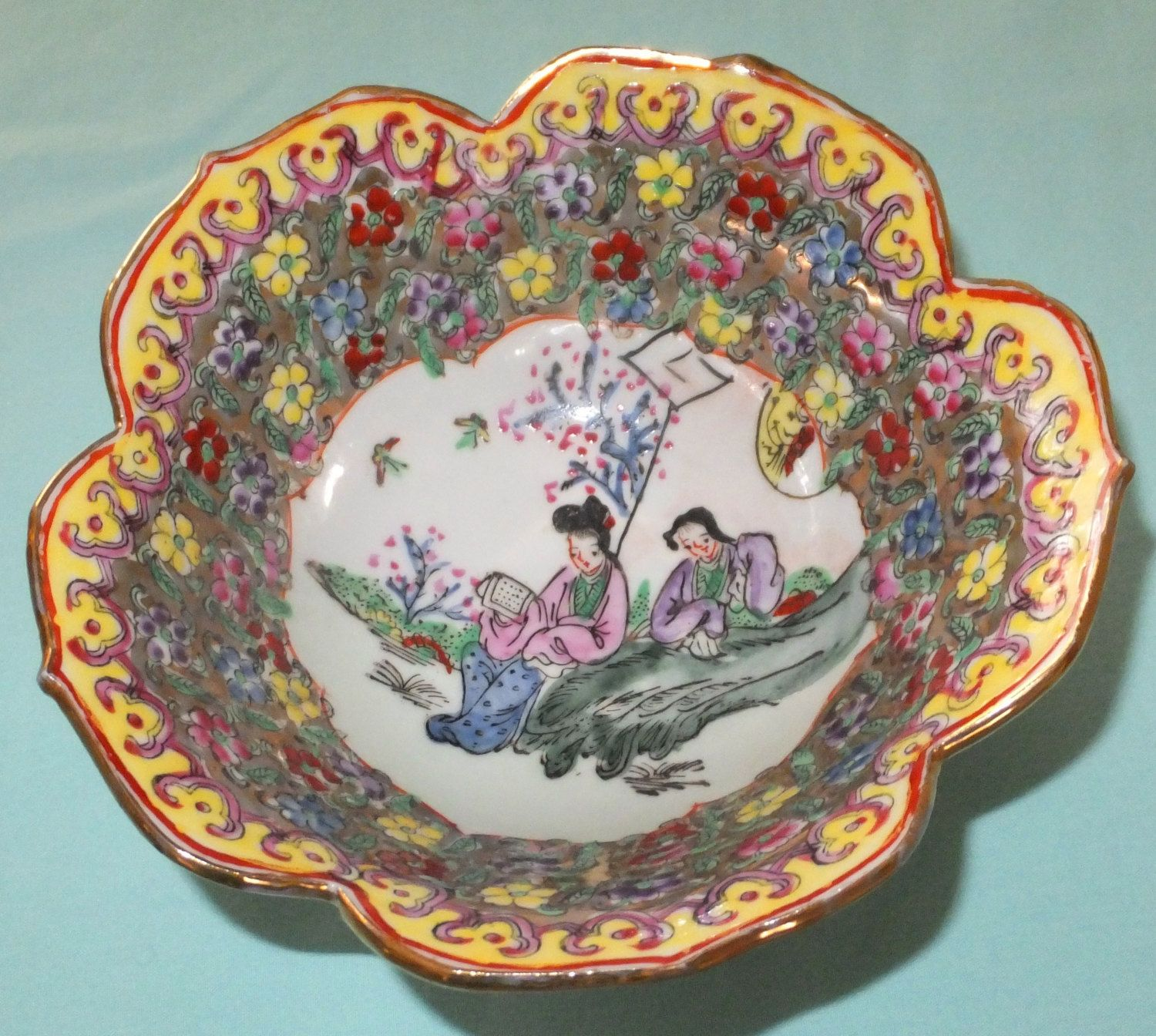Vintage 60 S Hand Painted Asian Lotus Rice Bowl Floral