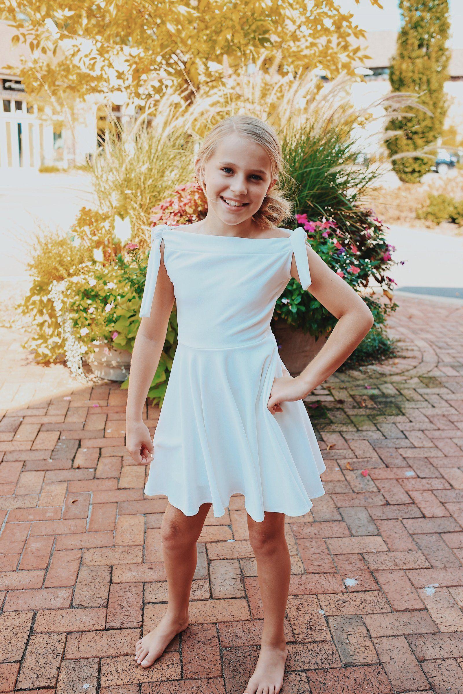 980987b018e Tween Tie Sleeve Off-Shoulder Dress ~ White in 2019