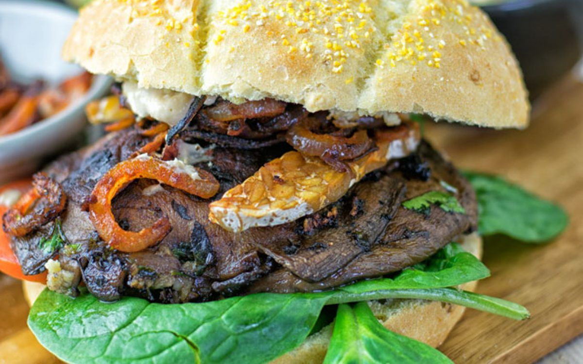 Tempeh Bacon Portobello Mushroom Burger [Vegan, Gluten-Free] | One Green Planet