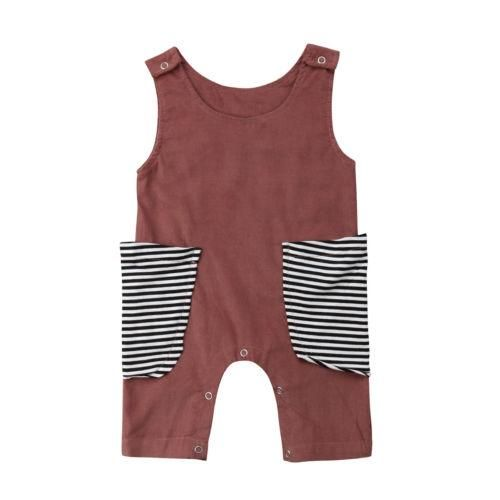 Fashion Kid Baby Girls Boys Short Sleeve Striped Romper Jumpsuit Clothes 0-24M