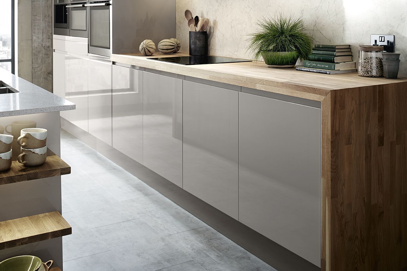 The Bayswater Gloss Cashmere Kitchen Range from Howdens