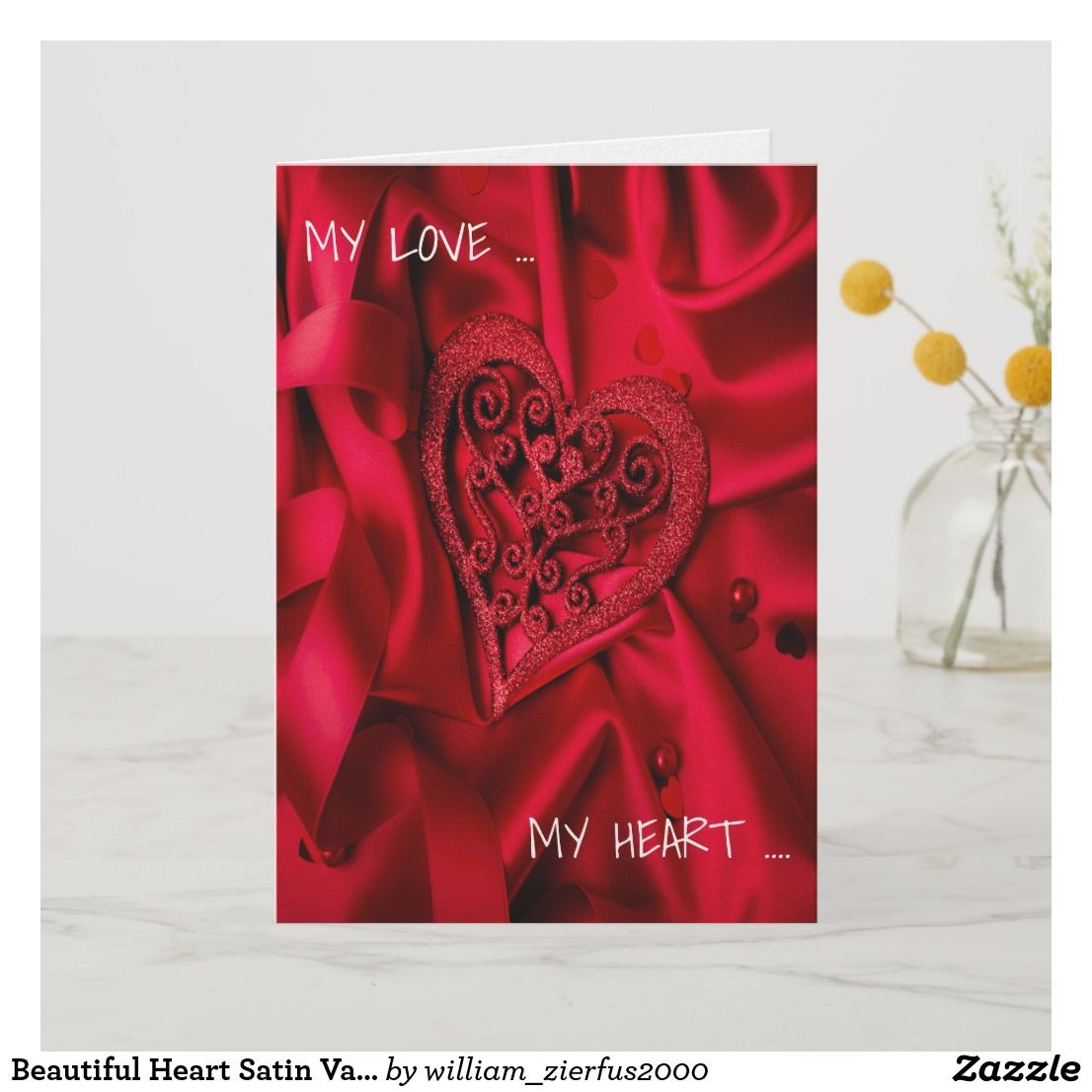 Beautiful Heart Satin Valentine S Day Forever Love Card Zazzle