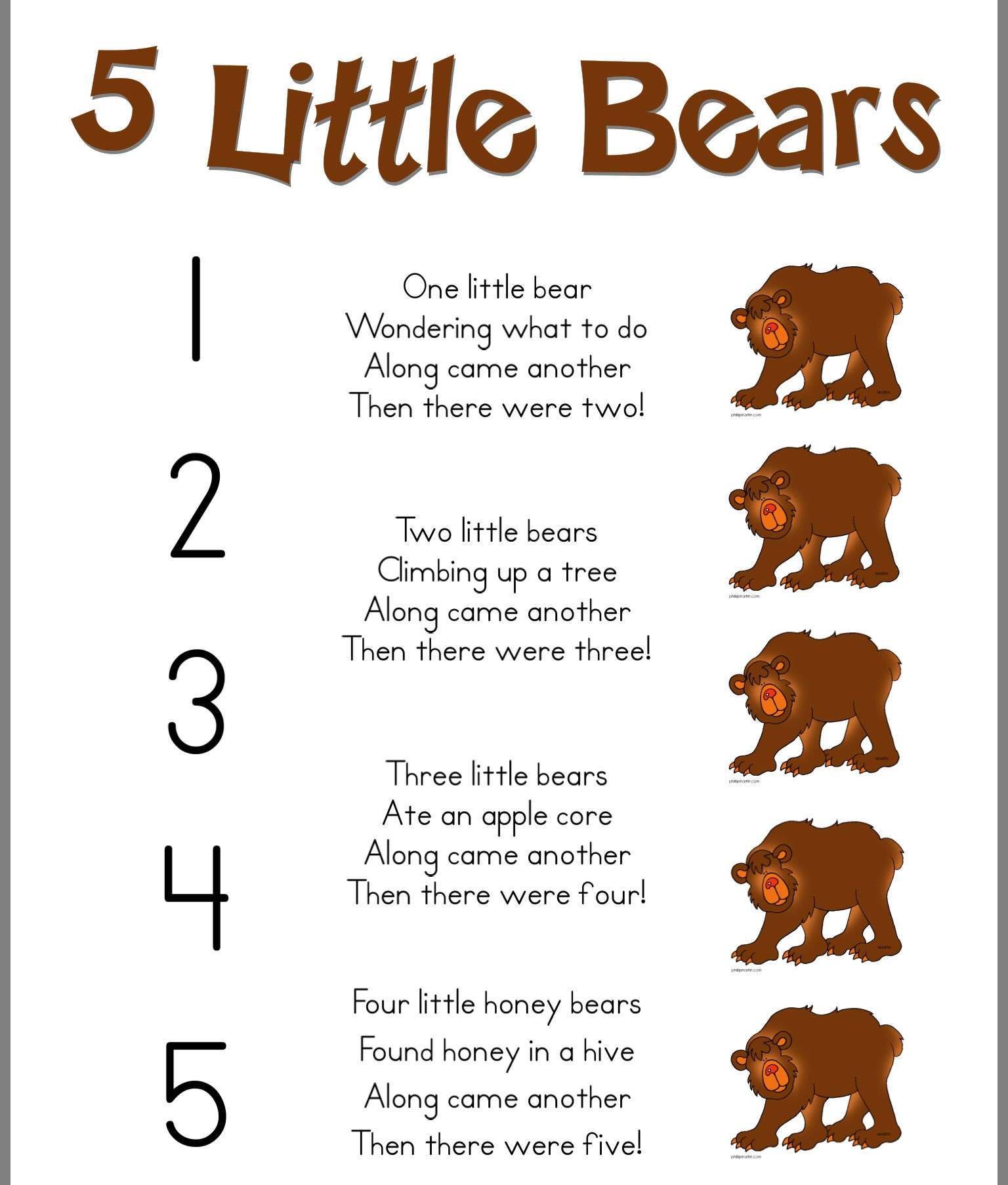 5 Little Bears Poem