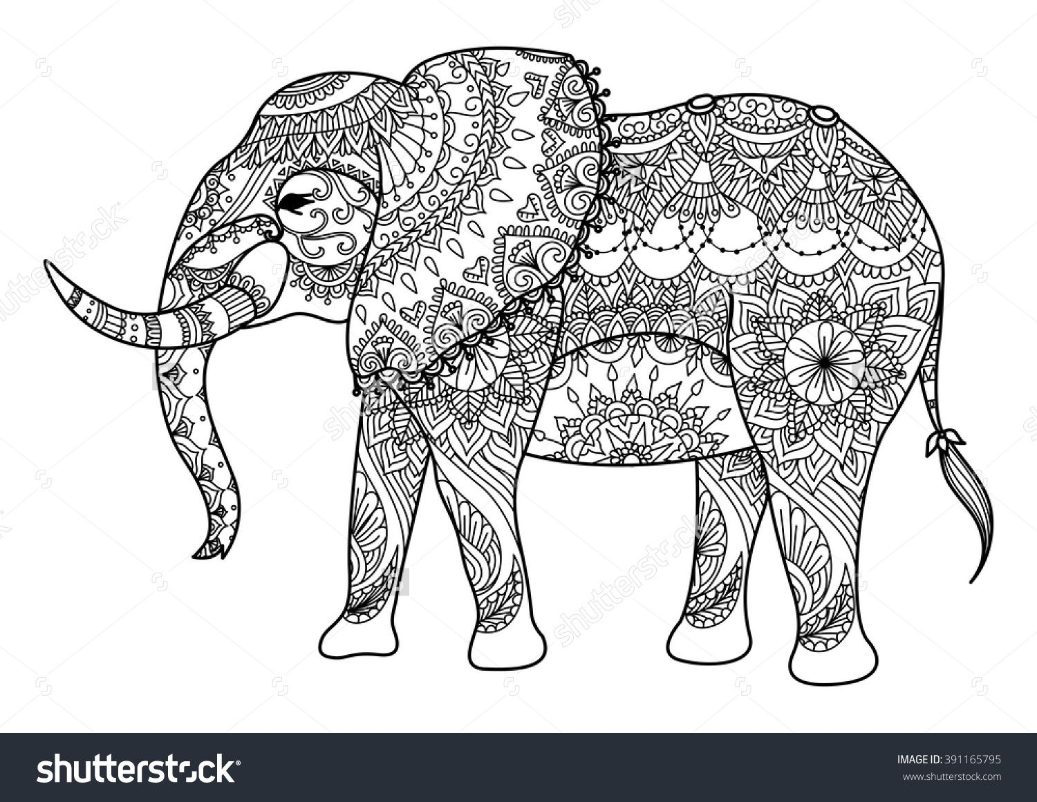 mandala elephant line art design for card tattoo banner coloring book and so - Coloring Page Elephant Design