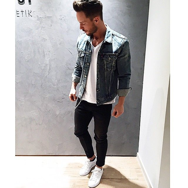 magic_fox #casual #levis - #jeans #denim #jacket #whitetee #adidas