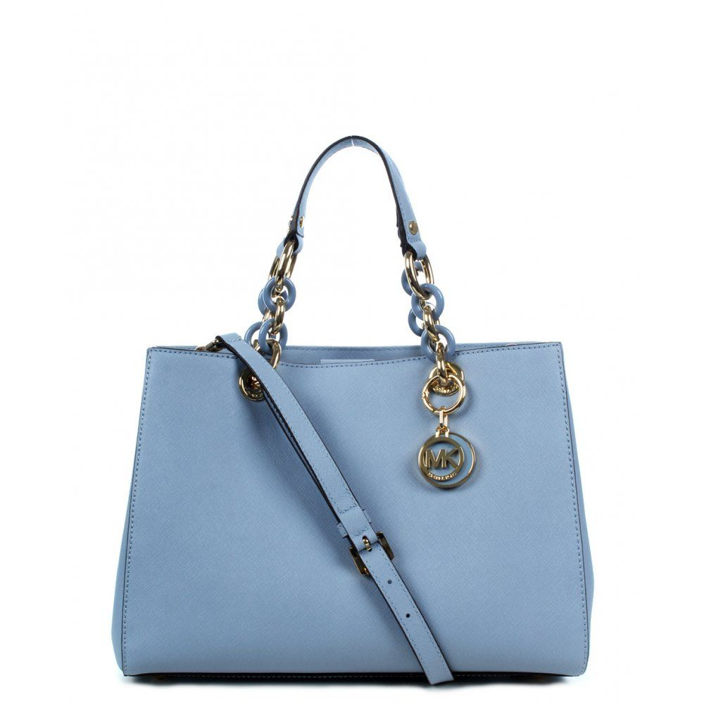 c2063170c575 ... low cost michael kors cynthia medium satchel pale blue gold 0b146 0e670
