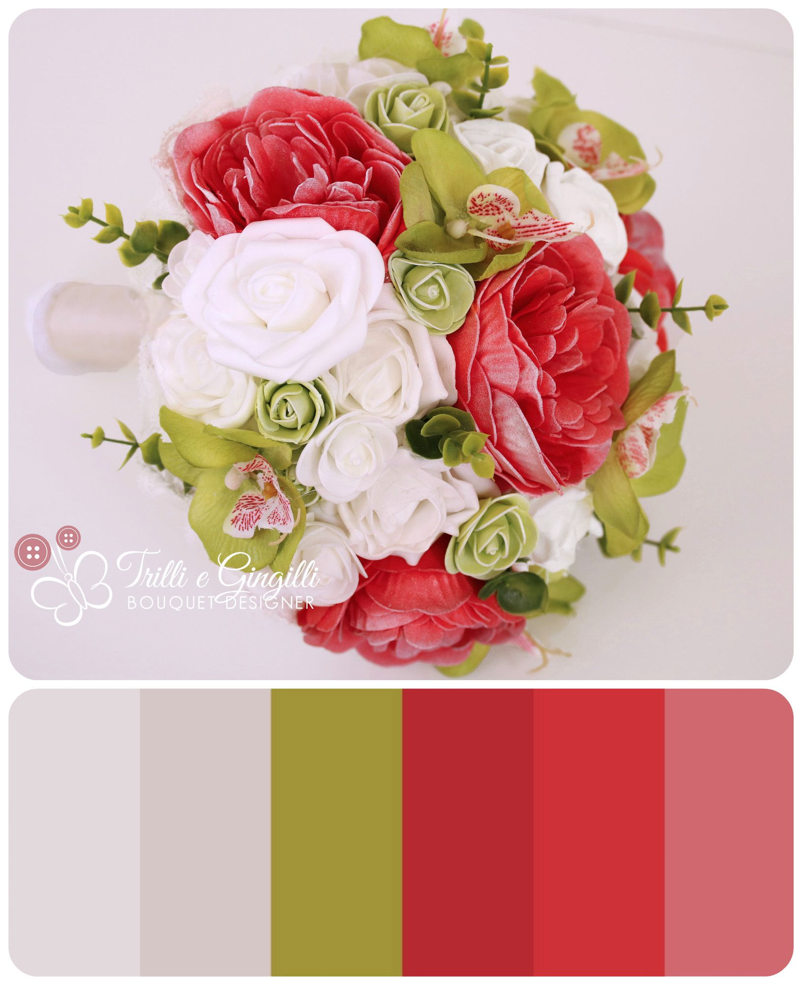 Bouquet Sposa Verde Mela.Wedding Bridal Bouquet Color Palette Green Red White Peony And