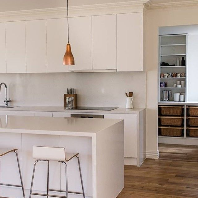 Parkdale Caesarstone Benchtops In Frosty Carrina. #kitchen