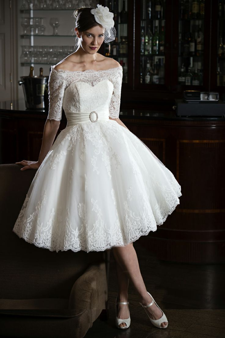 Lace off-shoulder 50s 60s style short wedding dress from our Bridal Look   6  Retro. 77297048f1a0