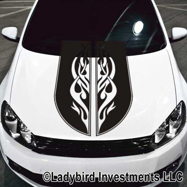 Tribal Scroll Flames Car Hood Decal Car Hood Decals Pinterest - Magnetic car decals flames