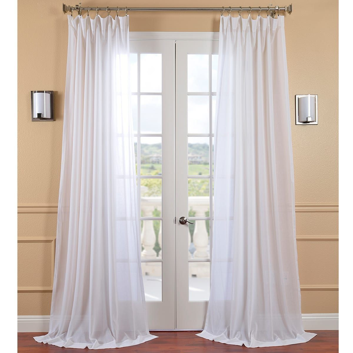 Exclusive Fabrics White Orchid Faux Linen Sheer Curtain Panel 108 Inch Size 50 X 108 White Sheer Curtains Sheer Curtain Panels Half Price Drapes