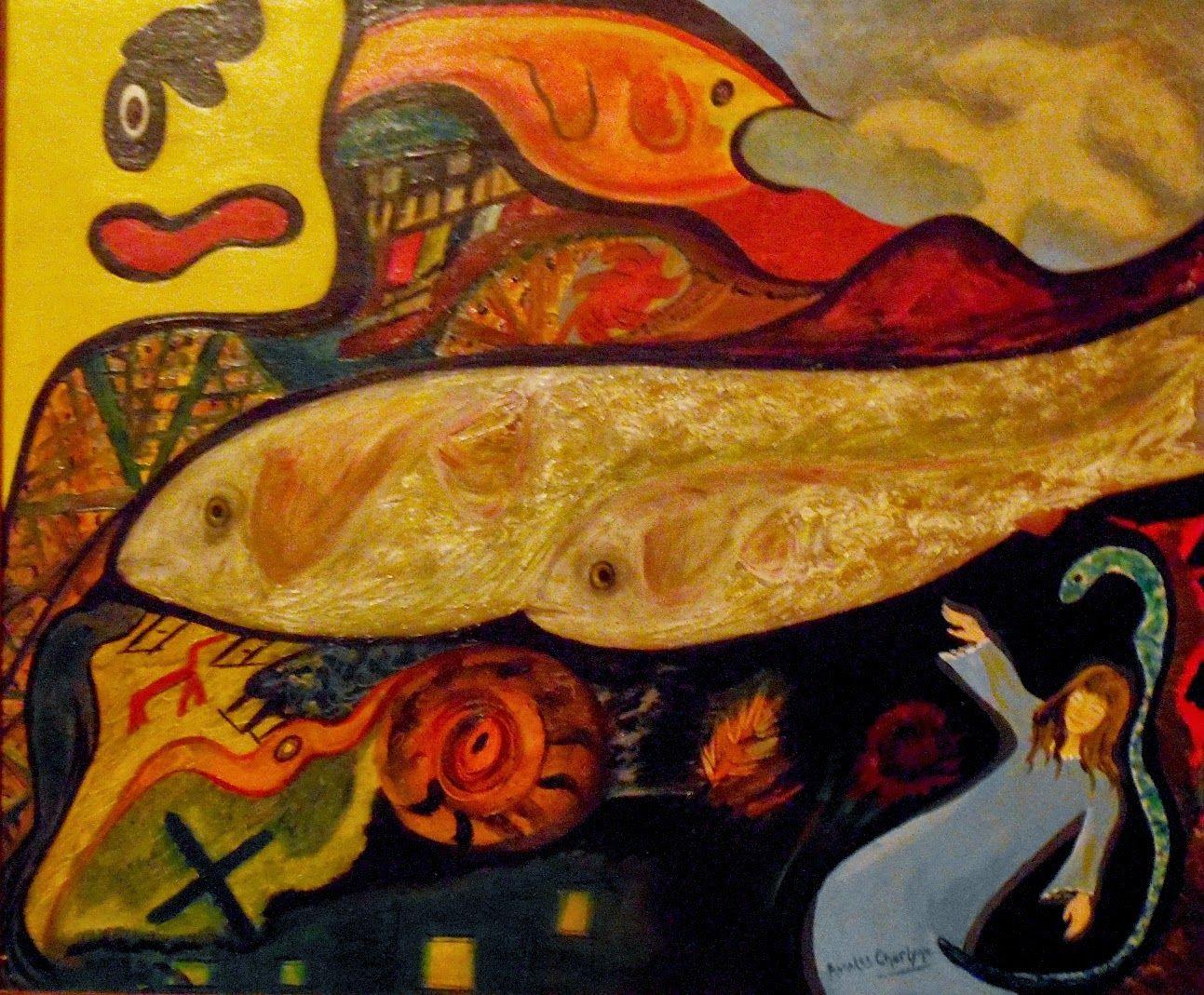 "Una idea, mucho arte""Génesis"" Técnica mixta sobre tela, 60 x 50 cm Autora: Angeles Charlyne"