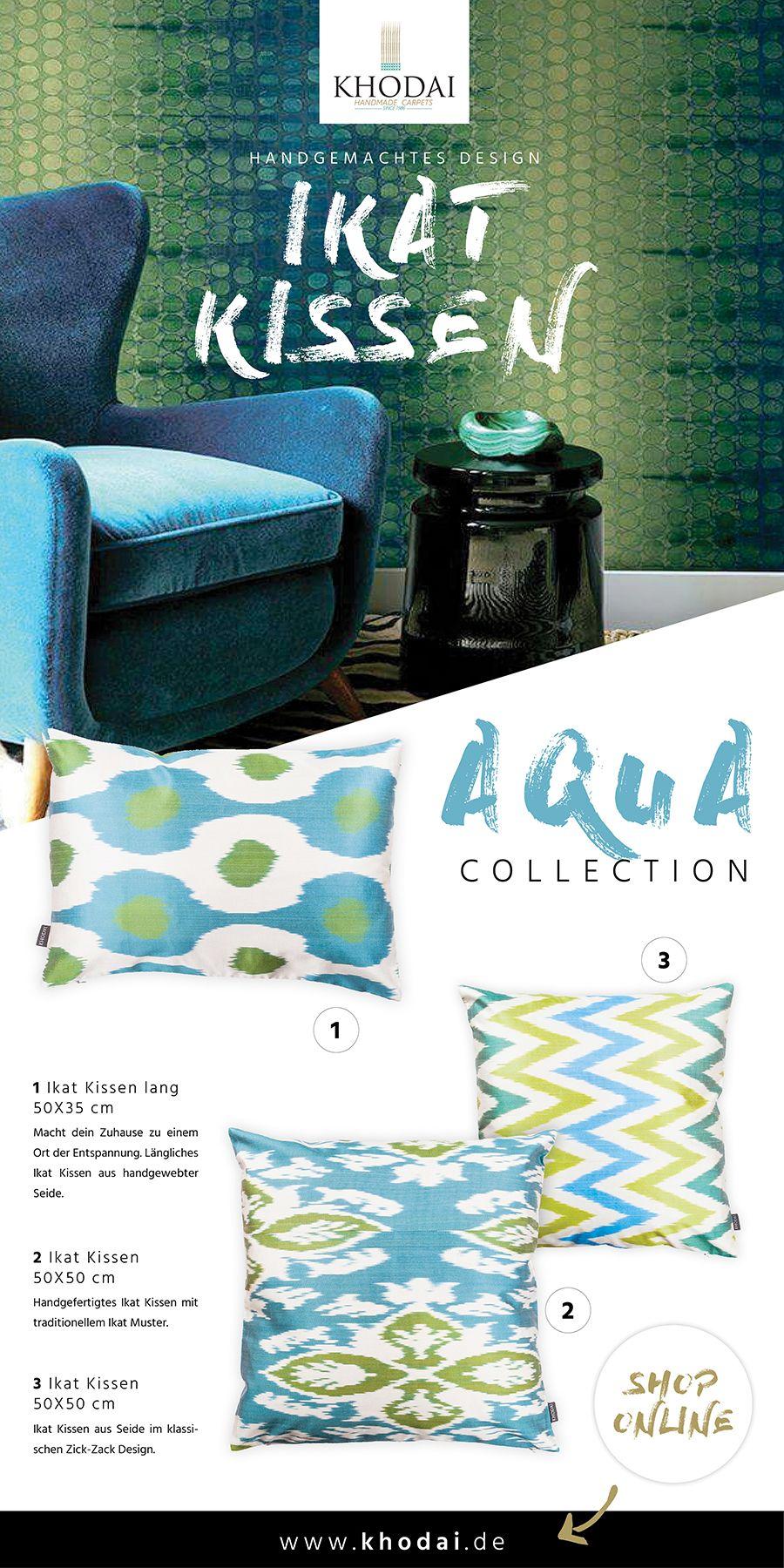 Ikat Kissen Aqua Tone Khodai Handmade Carpets Ikat Kissen Aqua