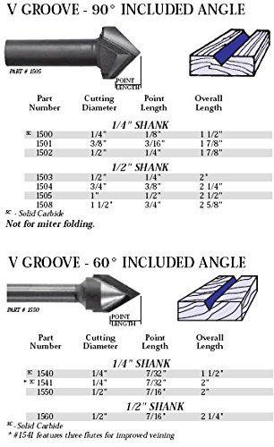 Whiteside Router Bits 1541 V-Groove 60-Degree 1//4-Inch Cutting Diameter