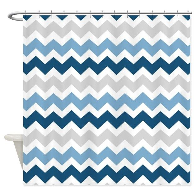 Navy Blue Grey White Chevron Shower Curtain | Blue grey and Gray