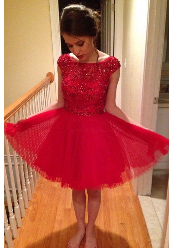 6a636b12d4 A-Line Bateau Cap Sleeves Red Tiered Short Homecoming Dress With ...