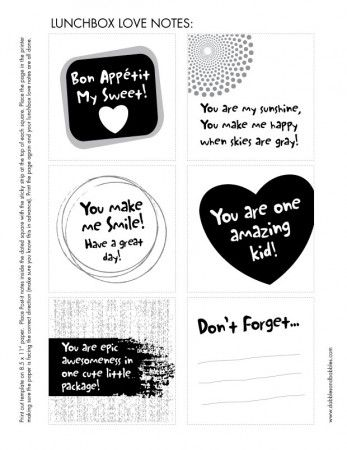Lunchbox Love Notes Template, Free printable and Note - minutes notes template