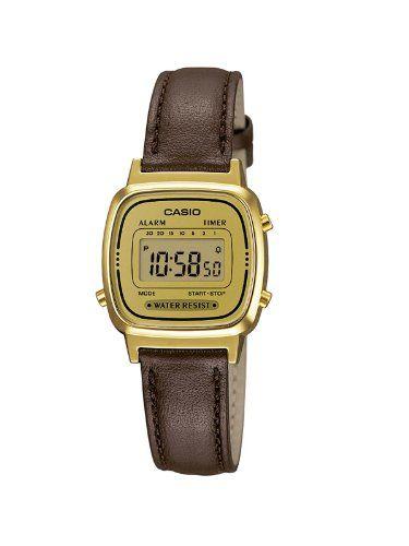 e80b3b98d84 Casio LA670WEGL-9EF - Reloj digital de cuarzo para mujer con correa de piel  color marron