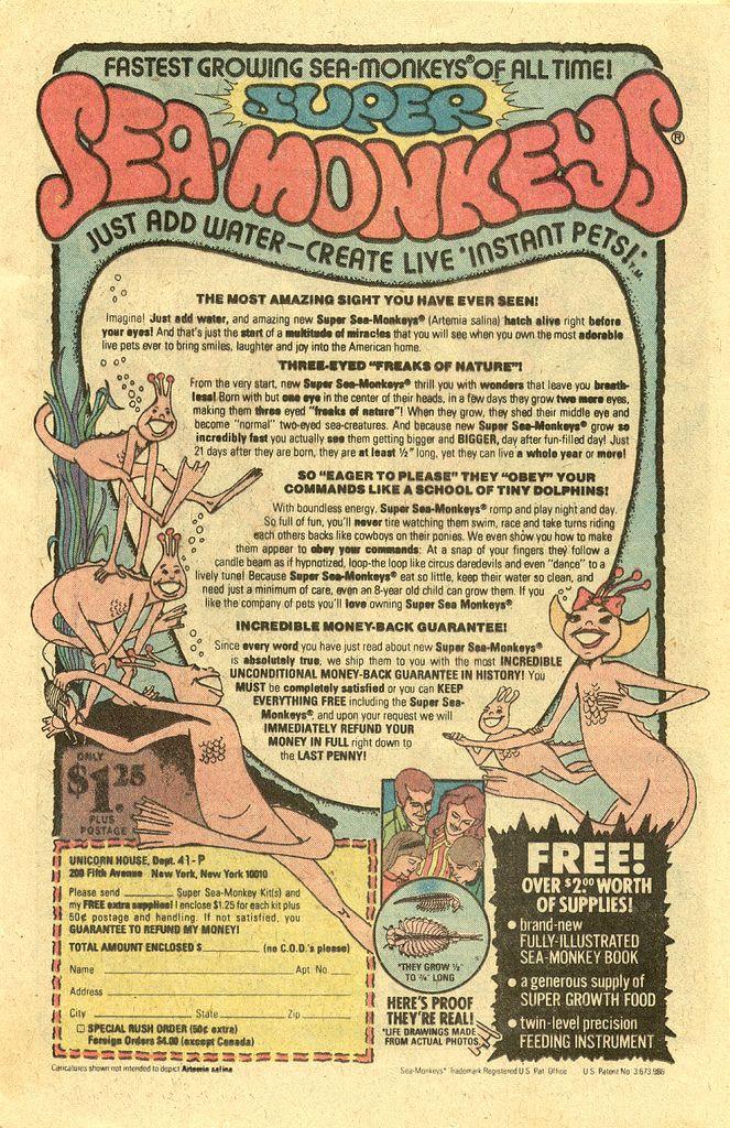 1978 Super Sea Monkeys Comic Book Ad Sea Monkeys Vintage Comic