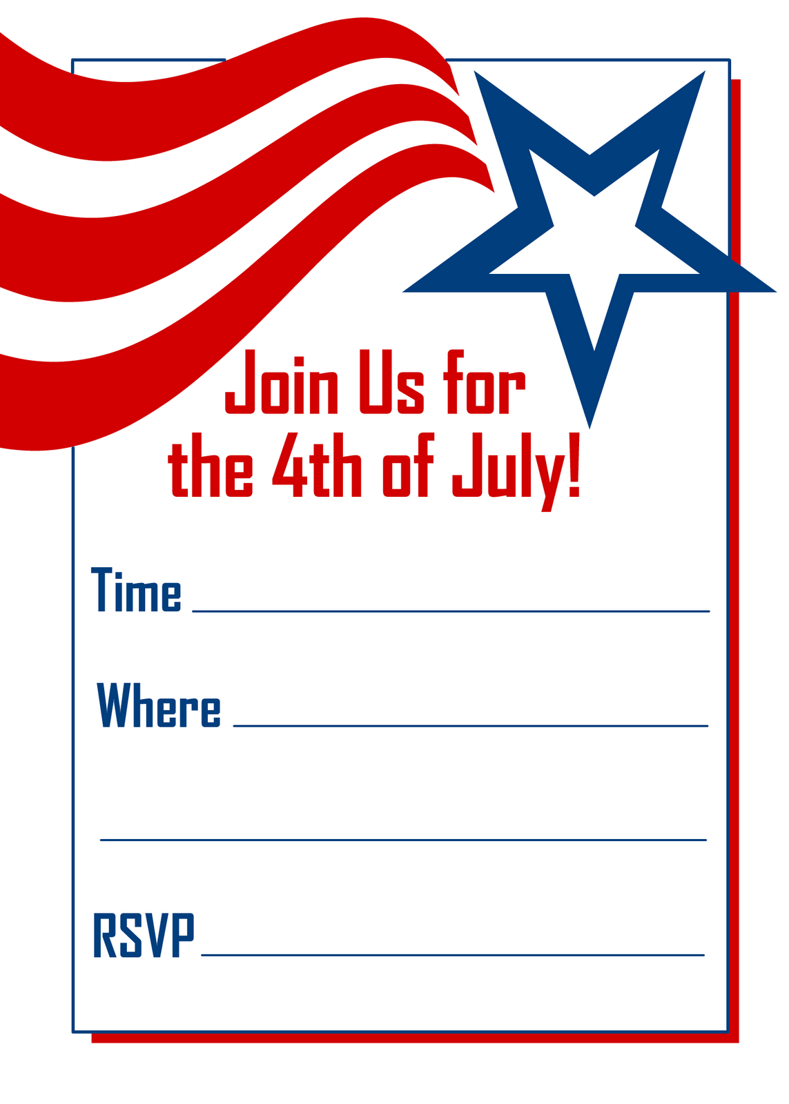 4th of july invitations free printable red white blue 4th of