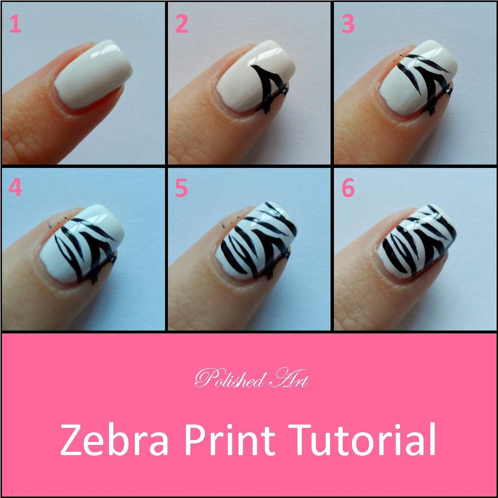 Polished Art Zebra Print Tutorial Nails Fo Dayz Pinterest