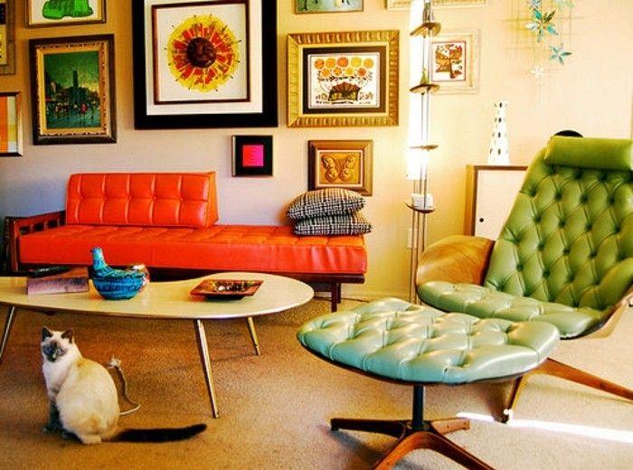 sehr interessante retro dekoration blaue stühle große fenster - wohnzimmer deko orange