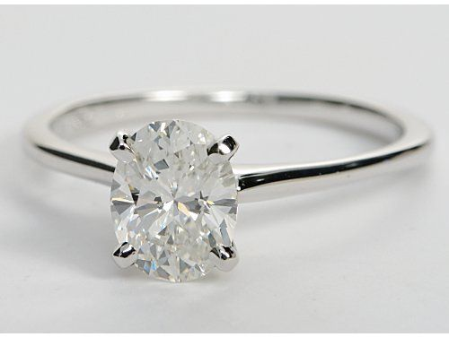 Petite Solitaire Engagement Ring In 18k White Gold 1 08 Ct Center