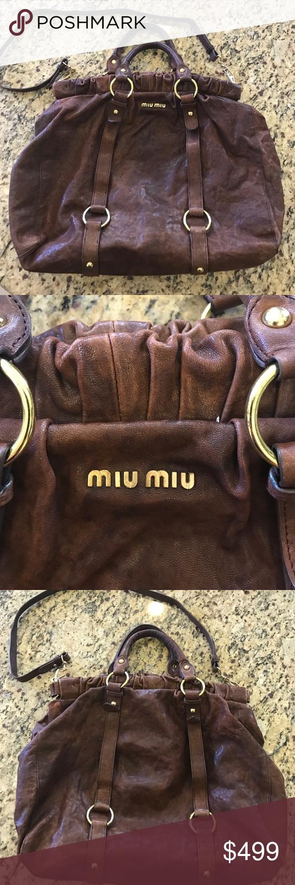 f411447b0 Auth Miu Miu Distressed Leather Crossbody Hobo Bag Auth Miu Miu Distressed  Leather Crossbody Hobo Bag. Large tote Handbag with detachable shoulder  strap ...