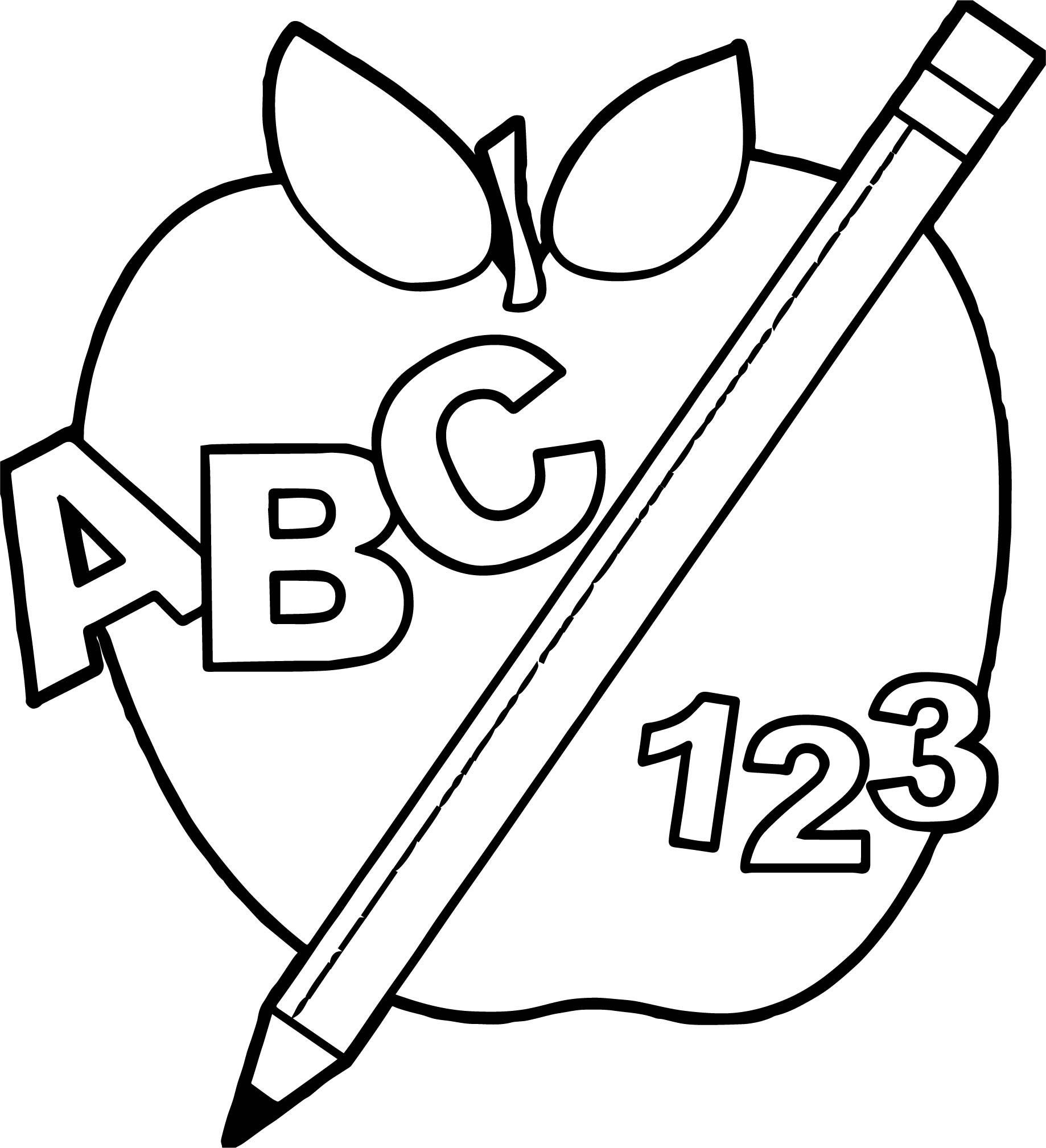 Coloring Pages Pencil Apple Coloring Pages School