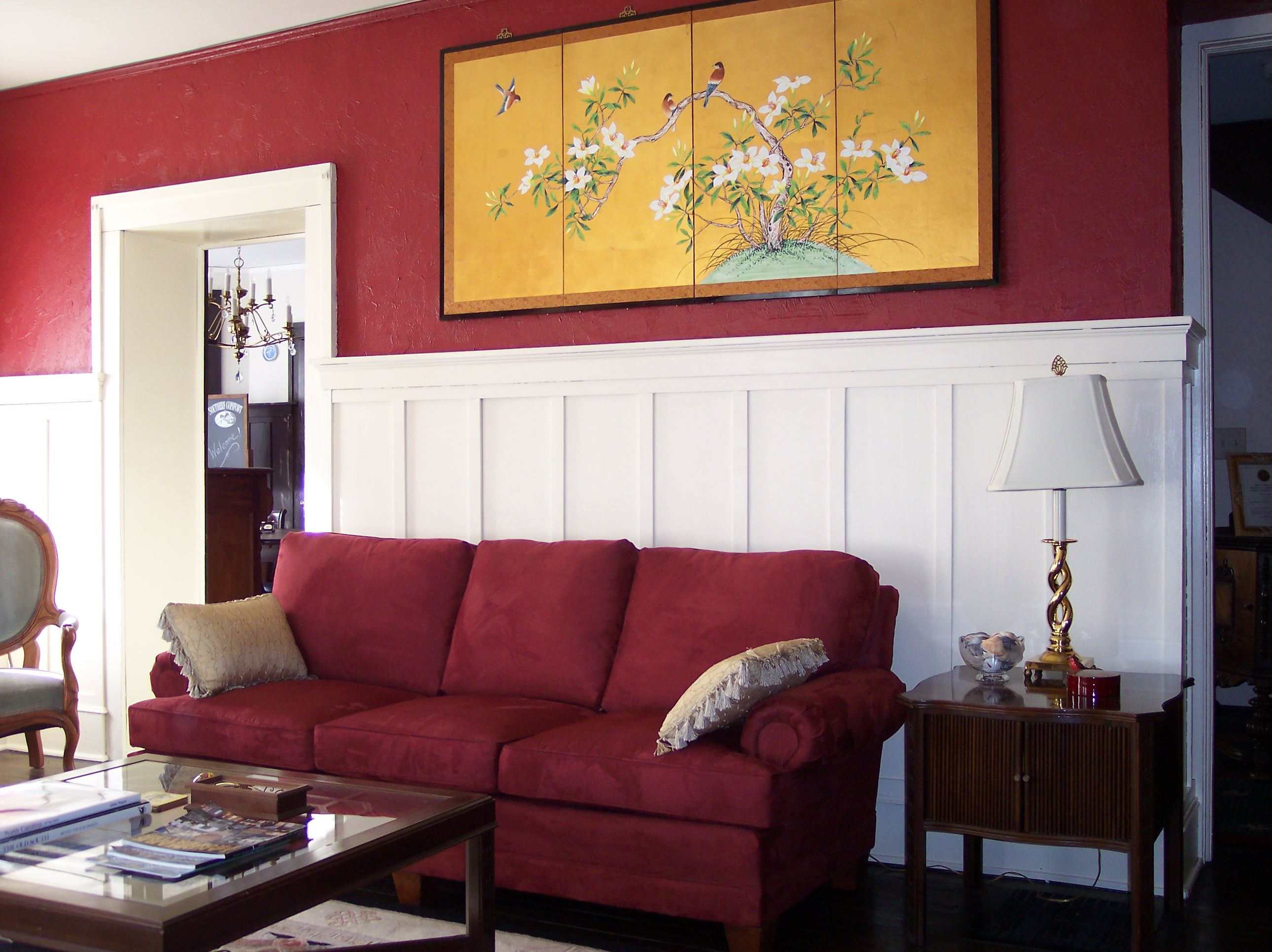 deep red for top half of wall | Red walls, Living room ...