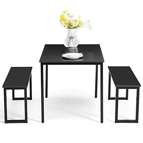 Dining Room Corner Decorating Ideas Space Saving Solutions: Dining Table Set 2 Bench, Black Wooden Rectangular Modern